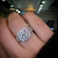 Certified 3.00Ct Round Cut Diamond Double Halo Engagement Ring 14k White Gold Fn