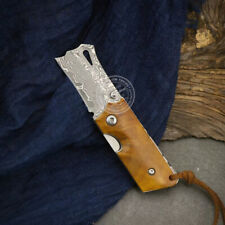 HANDCRAFTED VG10 DAMASCUS FOLDING KNIFE CAMPING TOOL BBQ POCKET HOOK KNIFE MINI