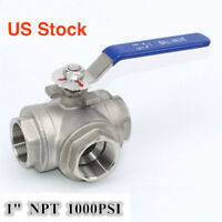 "New 1"" 3 WAY ball valve T Port 1000PSI NPT thread stainless steel 304"
