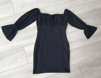 Ladies Misguided Black Sexy Bardot Mini Wench Dress Size 8 Net Sleeves