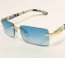 Mens Classy Style Wood Buff Retro 90s Hip Hop Rapper Gangster Rimless Sunglasses