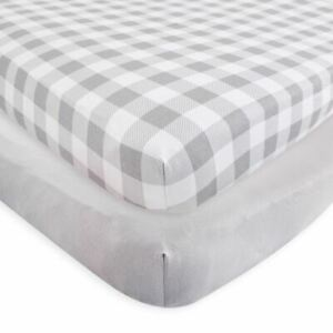 Touched By Nature Boy and Girl Organic Fitted Crib Sheets, 2-Pack, Plaid Gray