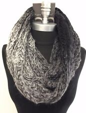 Women Winter Infinity 2-Circle Cable Knit Cowl Neck Long Scarf Wrap Black/gray