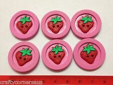 Large round pink buttons with strawberry centres by Dress It Up 5878