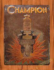 "Tin Sign ""Champion Rustic"" Spark Plugs Advertisement Garage Wall Decor"