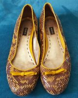 MIMCO Yellow Animal Print Leather Ballet Flats Shoes  Size 37