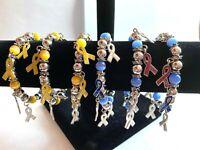 Patriotic Bracelet Wholesale Lot 6 Red White Blue Ribbon Charm Bracelets Stretch