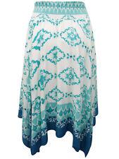 Green Smocked Waist Hanky Hem Skirt - Plus Size 16 to 30 By Denim 24/7