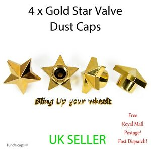 4x Bling Gold Star valve Tyre Dust Caps Car Van Bike BMX alloy Wheel caps