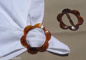 T-shirt tee shirt holder tie clip pull flower shape NEW tortoise shell color