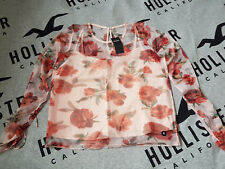 BNWT Women's HOLLISTER Tie-Sleeve Floral Mesh Top Size M light pink floral