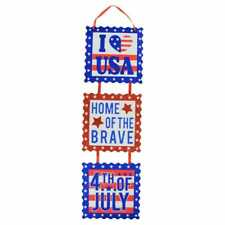 4th of July Sectioned Patriotic I Love USA Hanging Wall Decor, 6x23.5 in. w