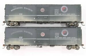 """HO Proto 2000? 2 Northern Pacific 50ft """"Vista Dome…"""" Arc-Lettered SD Box Cars"""