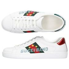 NEW GUCCI ACE WHITE LEATHER WEB LOGO SNEAKERS SHOES 10 G/US 10.5