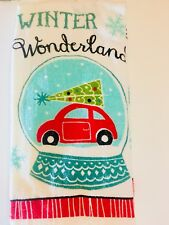 2 Christmas Red Car With Tree Snow Globe Winter Wonderland Kitchen Towels