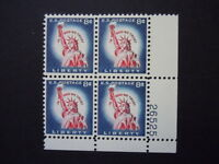 1958 1042 8c Statue of Liberty Plate Block MNH OG