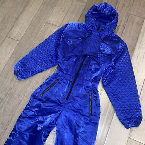 Vtg NILS One Piece Ski Suit Apres Snow Bib Snowsuit Shiny 80s 90s Womens LARGE