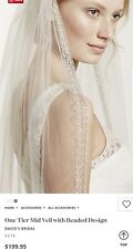 David's Bridal 1-Tier Mid Veil w/Beaded Design, Ivory, V218 ($199)