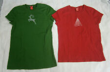 LOT 2 CHRISTMAS T-SHIRT WOMEN XS S RED GREEN REINDEER TREE JEWELS EMBROIDERY