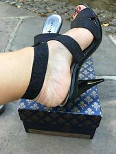 Used Designer Patrick Cox Black Strappy High Heeled Shoes Pumps Uk 7 40 patent