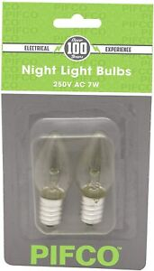 Pack of 2 Night Light Bulbs 250V A.C 7W by Pifco