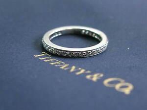 Tiffany & Co Platinum Legacy Diamond Milgrain Band Ring Size 4