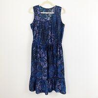Banana Republic Ruffle Printed Dress Size 4 Blue Black Cinch Waist Sleeveless