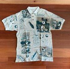 1990's vintage Disney Golf Polo Shirt All Over Print - Mickey Mouse Donald Duck