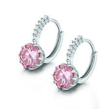 HUCHE Round Cut Pink Topaz Hoop Earrings 18K White Gold Filled Women Jewelry