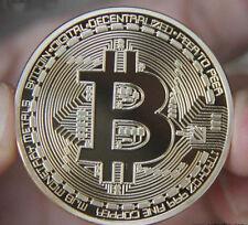 Gold Plated Bitcoin Coin collectible gift Physical BTC Coin Art Collection act