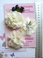 DEEP PINK /& BLACK Fabric Organza 3 Flower Pk 65-100mm Njoyfull Crafts D1