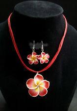 Plumeria Hawaiian Necklace & Earrings Red Fimo Flower Handcraft Beach,Vacation