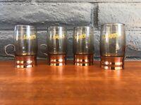 x4 Vintage Folgers 1970s Tia Maria Smoked Liqueur Glasses w/ Copper Handles