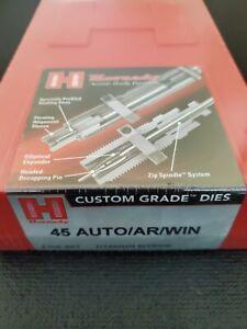 Hornady 45 AUTO/AR/WIN Custom Grade 3 Die Set Titanium Nitride 546554 NEW