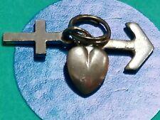 K100 Faith Hope Love Sterling Silver Vintage Bfracelet Charm