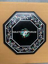 "15"" Black Marble Outdoor Garden Side Table Top Mosaic Inlay Furniture Decor E149"