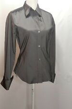 Theory M Medium Shirt Women Fitted Stretch Gray Silver Button Long Sleeve Office