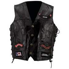 NWT Mens Black Leather Motorcycle Rider Biker Vest EAGLE FLAG Small M L XL 3X 5X