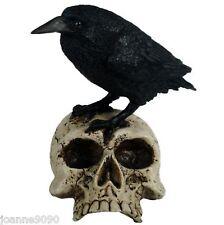 RAVEN ON SKULL BLACK RESIN FIGURINE STATUE ORNAMENT NEMESIS NOW GOTHIC FANTASY