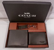 NIB COACH Men's BLACK LEATHER Compact ID, Wallet Key Ring SET in GIFT BOX 64118