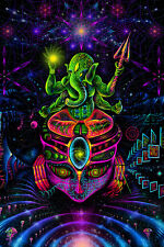 PSY BACKDROP GANESHA Fluorescent Blacklight active wall hanging psychedelic art