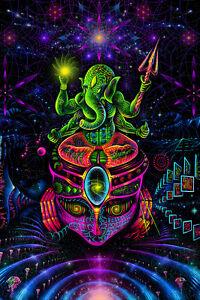 PSY BACKDROP GANESHA Fluorescent Blacklight active wall hanging psychedelic art