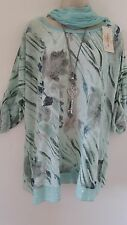 Italian Lagenlook Mint  Leaf Print Top Tunic With Scarf  Size 16 18 20 22 24