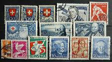 Gestempelte Schweizer Bundespost-Briefmarken (bis 1944) als Sammlung