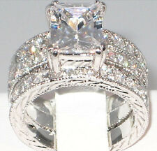 REGAL 3.9 CT. Emerald Cut CZ Bridal Engagement Wedding 3 PC. Ring Set - SIZE 7