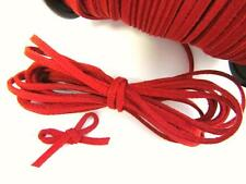 10 yards Genuine Leather Suede Cord 3mm Trim/Lace/Sewing/Bow/Christmas T163-Red