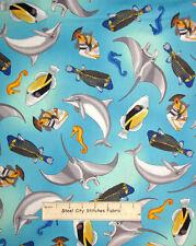 Quilting TreasuresTropical Breeze Dolphin Sea Horse Fish Aqua Cotton Fabric YARD