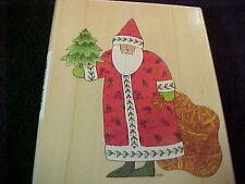 Santa Folk Art St Nick jone Hallmark Wood Mounted Christmas Stamp