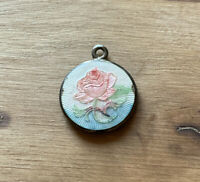 Vintage Sterling Guilloche Enamel with RAISED Rose Charm Pendant Necklace