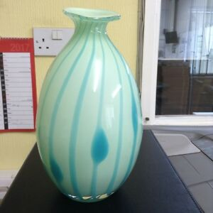 A lovely art glass ornamental vase in shades of turquoise/ green